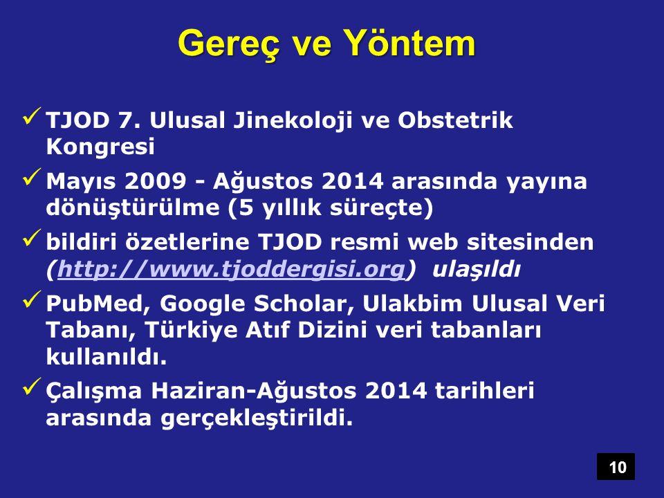 Gereç ve Yöntem TJOD 7. Ulusal Jinekoloji ve Obstetrik Kongresi Mayıs 2009 - Ağustos 2014 arasında yayına dönüştürülme (5 yıllık süreçte) bildiri özet