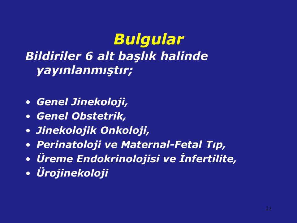 Bulgular Bildiriler 6 alt başlık halinde yayınlanmıştır; Genel Jinekoloji, Genel Obstetrik, Jinekolojik Onkoloji, Perinatoloji ve Maternal-Fetal Tıp,