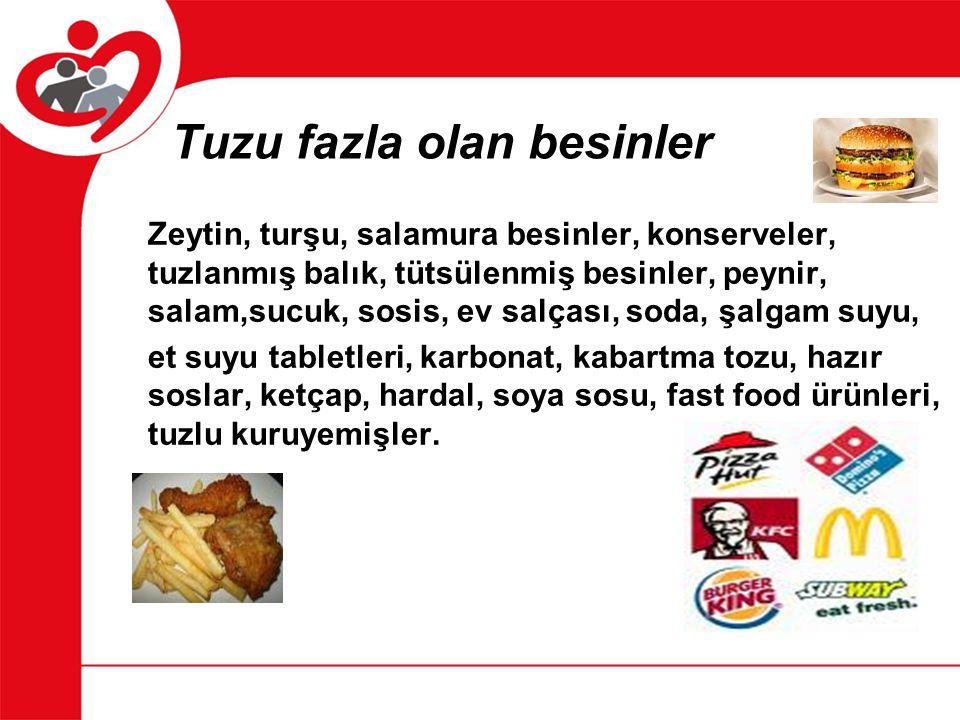 Tuzu fazla olan besinler Zeytin, turşu, salamura besinler, konserveler, tuzlanmış balık, tütsülenmiş besinler, peynir, salam,sucuk, sosis, ev salçası,
