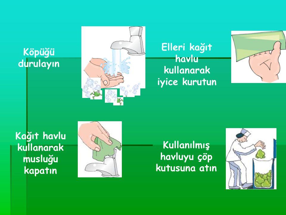Etkili el yıkama Eller akan suyla ıslatılır Ellere 3-5ml sıvı sabun alınır Ellerin her tarafını akan su altında iyice ovalayın Parmakların arasını ve