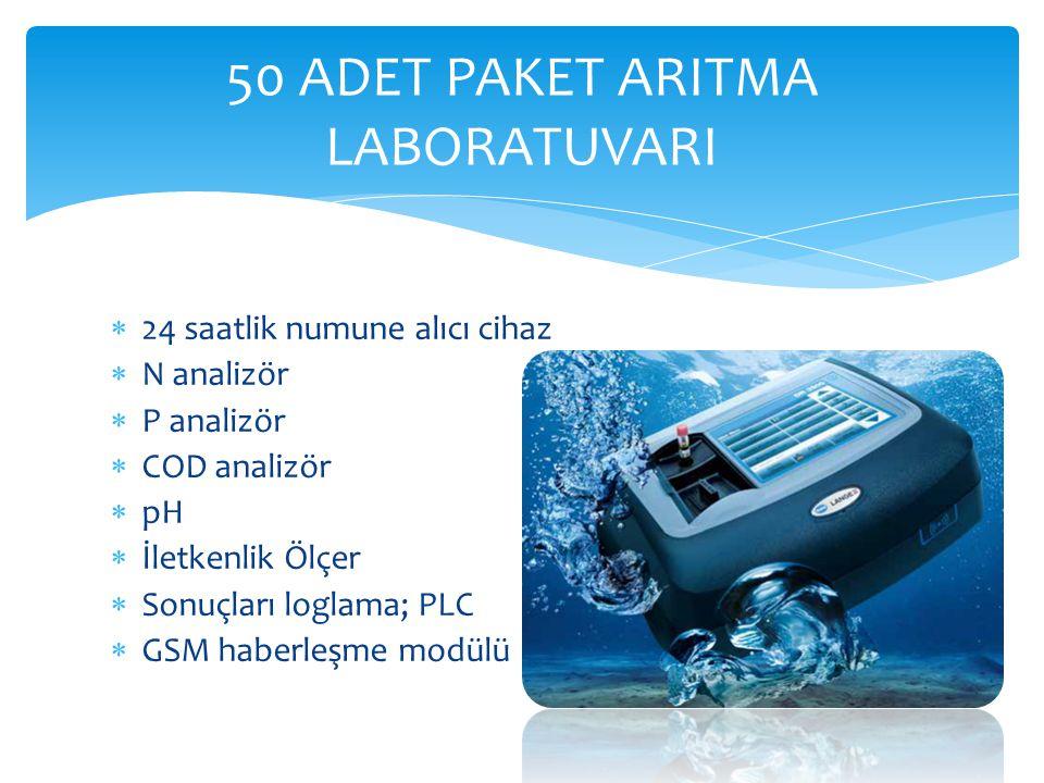  24 saatlik numune alıcı cihaz  N analizör  P analizör  COD analizör  pH  İletkenlik Ölçer  Sonuçları loglama; PLC  GSM haberleşme modülü 50 A