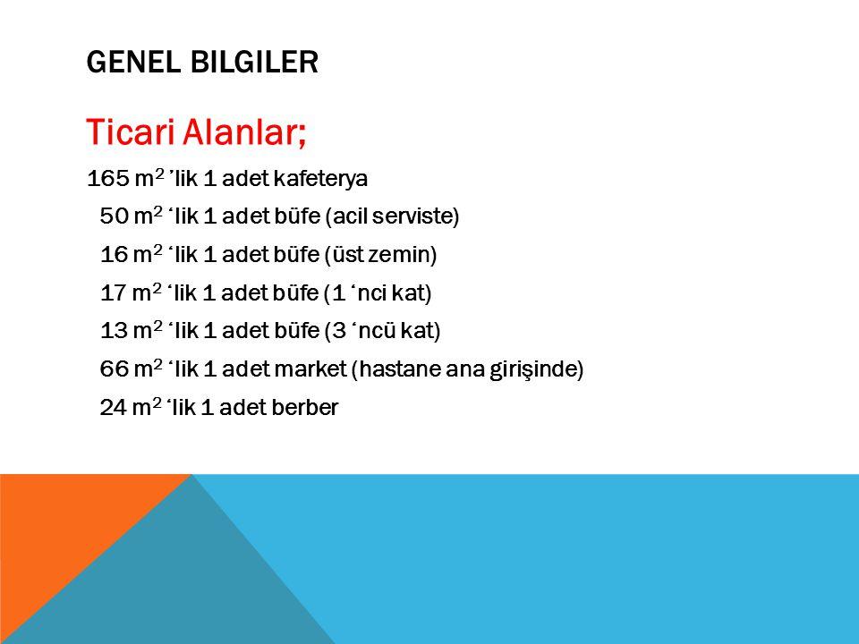 Ticari Alanlar; 165 m 2 'lik 1 adet kafeterya 50 m 2 'lik 1 adet büfe (acil serviste) 16 m 2 'lik 1 adet büfe (üst zemin) 17 m 2 'lik 1 adet büfe (1 'nci kat) 13 m 2 'lik 1 adet büfe (3 'ncü kat) 66 m 2 'lik 1 adet market (hastane ana girişinde) 24 m 2 'lik 1 adet berber GENEL BILGILER