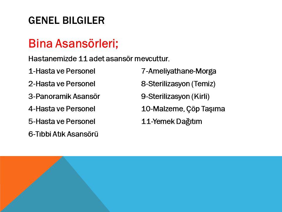 GENEL BILGILER Bina Asansörleri; Hastanemizde 11 adet asansör mevcuttur. 1-Hasta ve Personel7-Ameliyathane-Morga 2-Hasta ve Personel8-Sterilizasyon (T