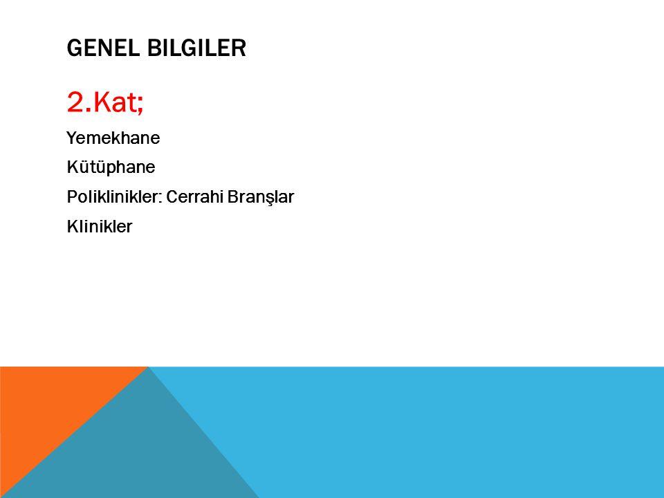 GENEL BILGILER 2.Kat; Yemekhane Kütüphane Poliklinikler: Cerrahi Branşlar Klinikler