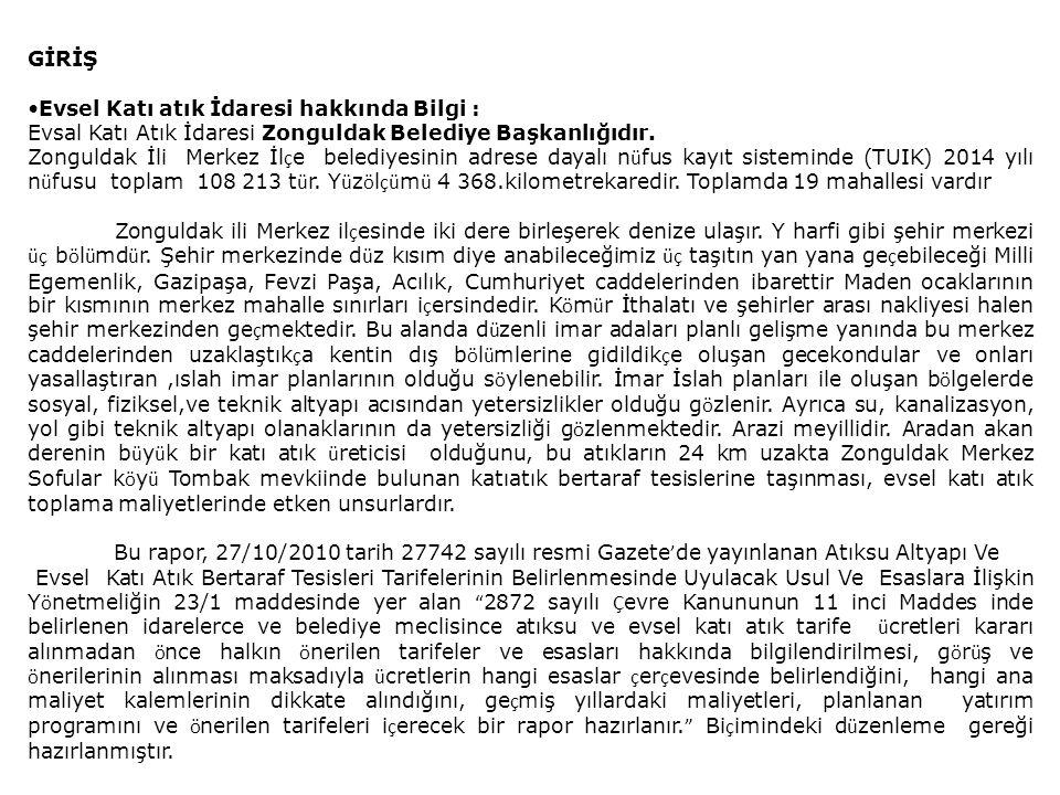 GİRİŞ Evsel Katı atık İdaresi hakkında Bilgi : Evsal Katı Atık İdaresi Zonguldak Belediye Başkanlığıdır.