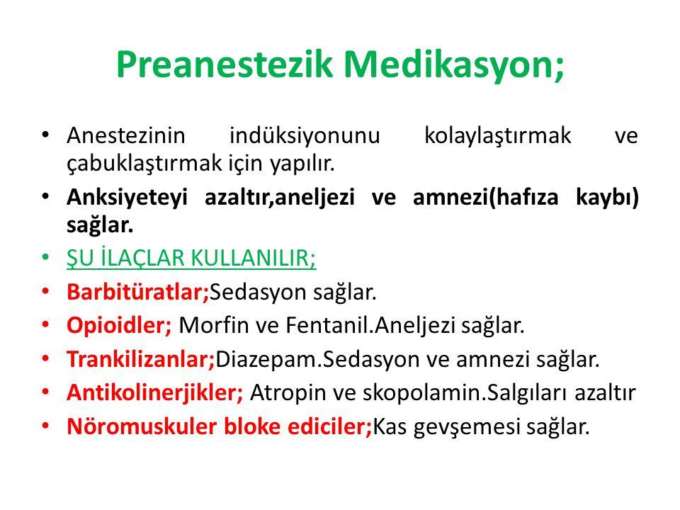 Preanestezik Medikasyon; Anestezinin indüksiyonunu kolaylaştırmak ve çabuklaştırmak için yapılır. Anksiyeteyi azaltır,aneljezi ve amnezi(hafıza kaybı)