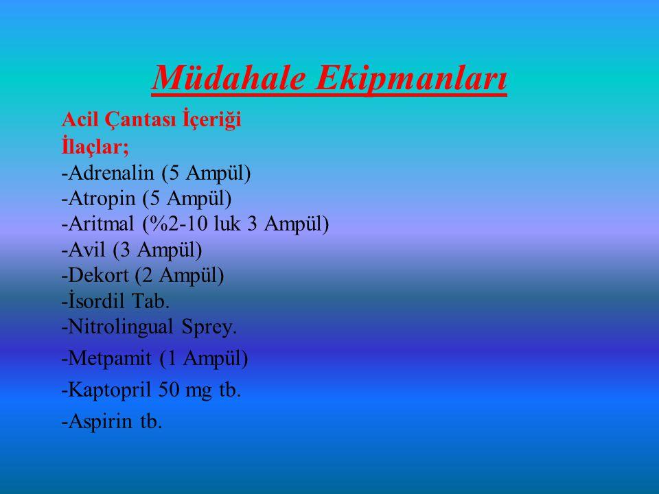 Müdahale Ekipmanları Acil Çantası İçeriği İlaçlar; -Adrenalin (5 Ampül) -Atropin (5 Ampül) -Aritmal (%2-10 luk 3 Ampül) -Avil (3 Ampül) -Dekort (2 Ampül) -İsordil Tab.