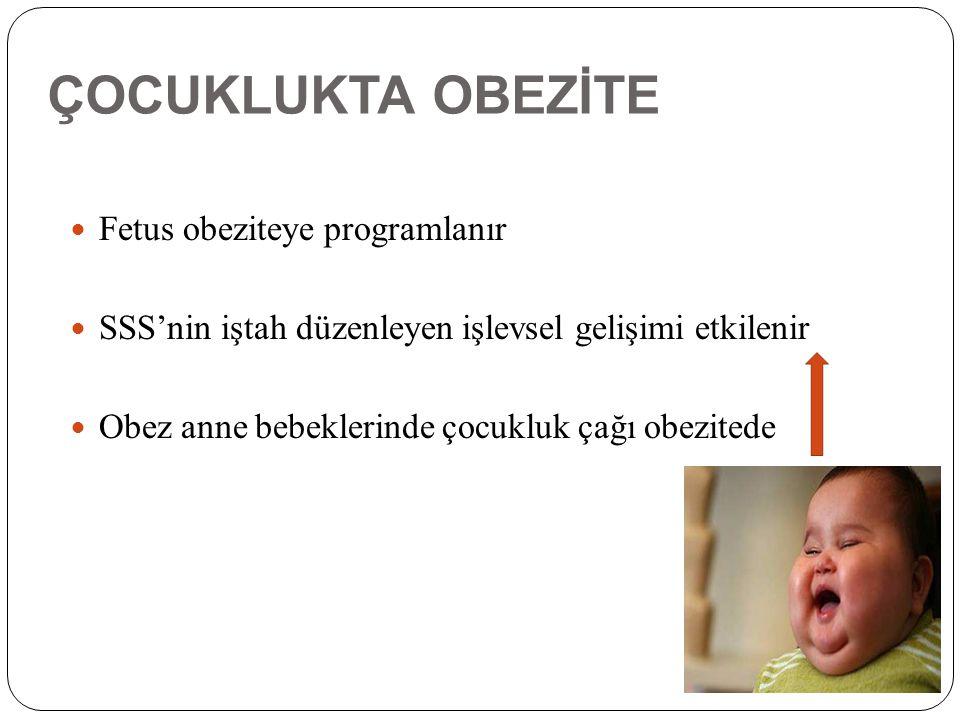 ÇOCUKLUKTA OBEZİTE Fetus obeziteye programlanır SSS'nin iştah düzenleyen işlevsel gelişimi etkilenir Obez anne bebeklerinde çocukluk çağı obezitede