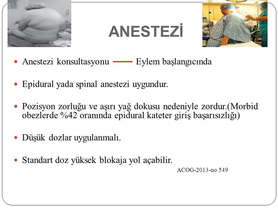 ANESTEZİ Anestezi konsultasyonu Eylem başlangıcında Epidural yada spinal anestezi uygundur. Pozisyon zorluğu ve aşırı yağ dokusu nedeniyle zordur.(Mor