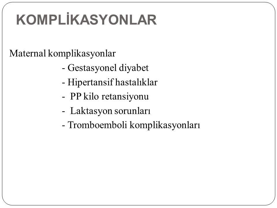 KOMPLİKASYONLAR Maternal komplikasyonlar - Gestasyonel diyabet - Hipertansif hastalıklar - PP kilo retansiyonu - Laktasyon sorunları - Tromboemboli ko