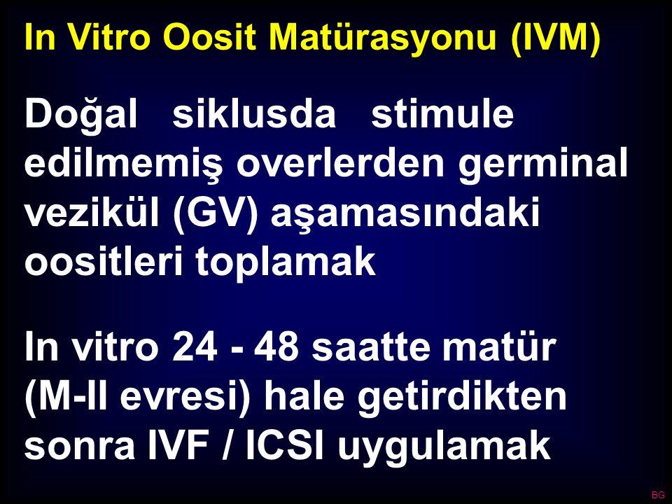 In Vitro Oosit Matürasyonu (IVM) Doğal siklusda stimule edilmemiş overlerden germinal vezikül (GV) aşamasındaki oositleri toplamak In vitro 24 - 48 sa