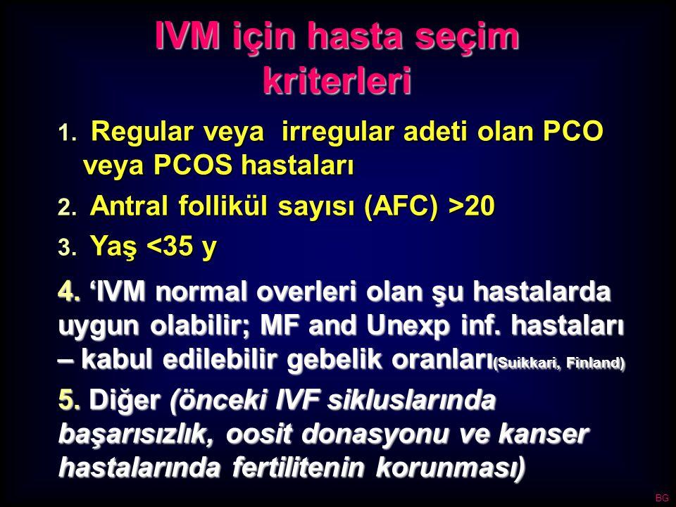 IVM için hasta seçim kriterleri 1. Regular veya irregular adeti olan PCO veya PCOS hastaları 2. Antral follikül sayısı (AFC) >20 3. Yaş <35 y 4. 'IVM