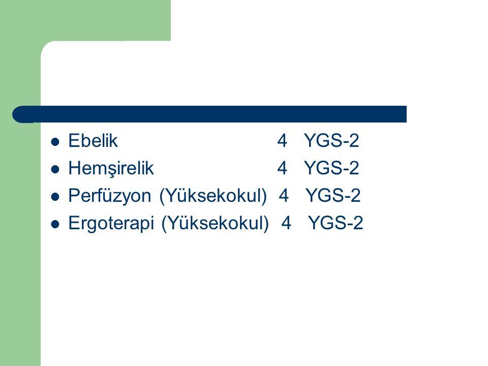 Ebelik 4 YGS-2 Hemşirelik 4 YGS-2 Perfüzyon (Yüksekokul) 4 YGS-2 Ergoterapi (Yüksekokul) 4 YGS-2