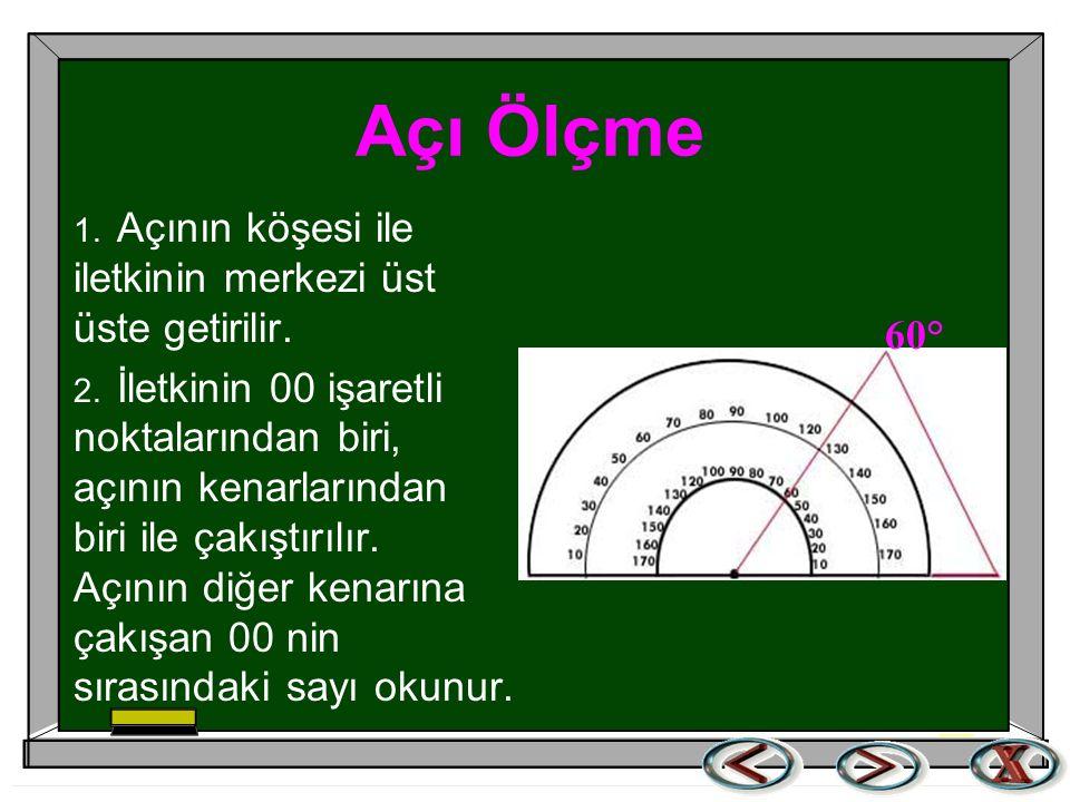 Açı Ölçme Aşağıdaki şekilde, iletki ile AOB nin nasıl ölçüldüğü görülmektedir.