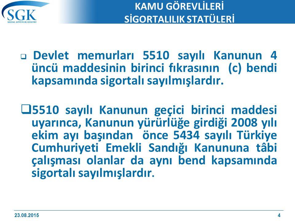 23 Ağustos 2015 85 ÖRNEK 5) 19/6/1988 tarihinde 5434 sayılı Kanuna tabi göreve başlayan ve 8/5/1996 tarihinde görevinden ayrılan bir kişinin fiili hizmet süresi 15/7/1988 - 14/5/1996 tarihleri arasında 7 yıl 10 ay olacaktır.