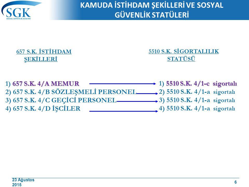 23 Ağustos 2015 37 7) Emekli aylığı almakta iken Belediye Başkanlığına seçilenler, (24.12.2004 tarih ve 5272 sayılı Kanunla) Malullük, yaşlılık ve emekli aylığı bağlananlardan belediye başkanlığına seçilenler, 4 üncü maddenin birinci fıkrasının (c) bendi kapsamında sigortalı olmak istemeleri durumunda, emekli aylıkları kesilmek suretiyle dilekçelerinin Kurum kayıtlarına geçtiği tarihi takip eden aybaşından itibaren sigortalı sayılacaklardır.