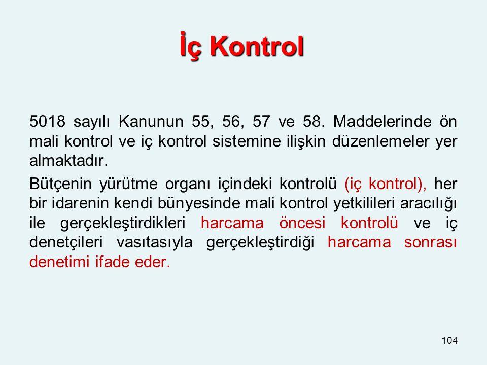 İç Kontrol 5018 sayılı Kanunun 55, 56, 57 ve 58. Maddelerinde ön mali kontrol ve iç kontrol sistemine ilişkin düzenlemeler yer almaktadır. Bütçenin yü
