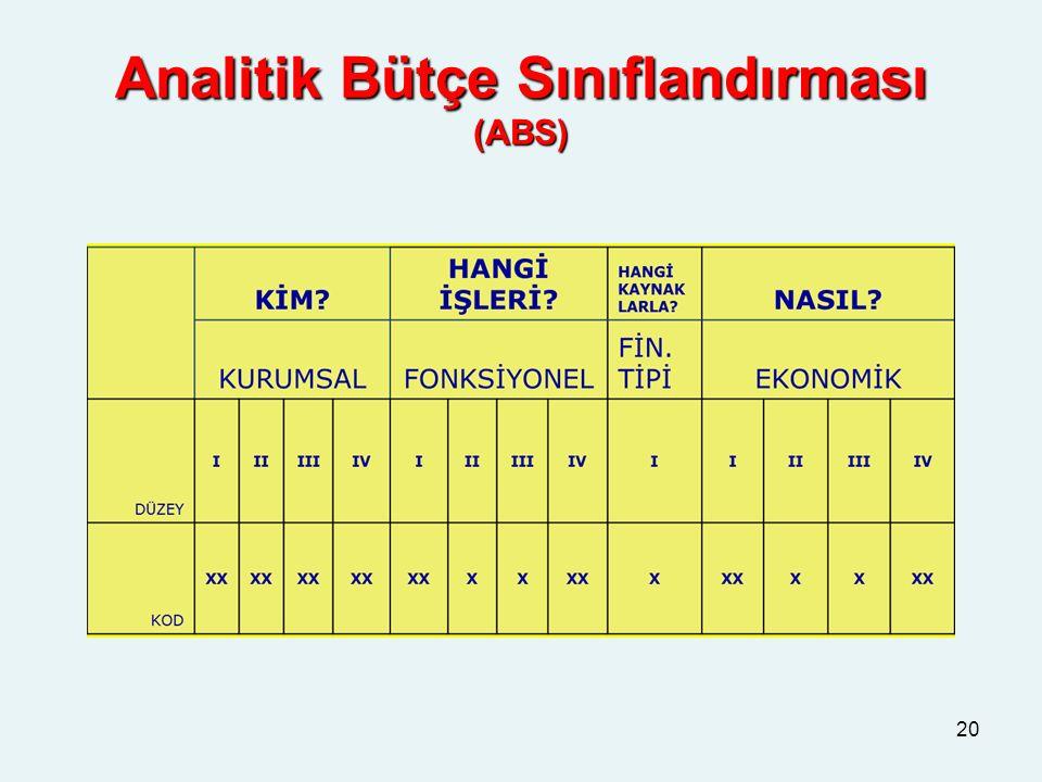 Analitik Bütçe Sınıflandırması (ABS) 20