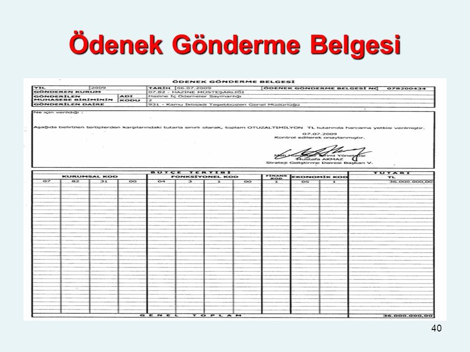 Ödenek Gönderme Belgesi 40