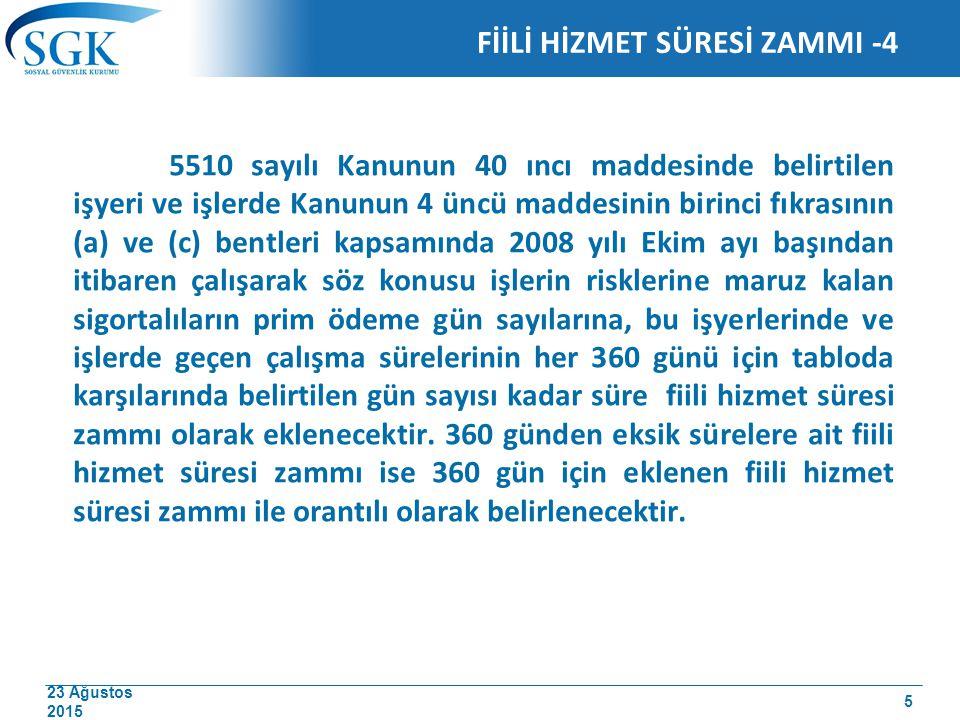 23 Ağustos 2015 FİİLİ HİZMET SÜRESİ ZAMMI -4 5510 sayılı Kanunun 40 ıncı maddesinde belirtilen işyeri ve işlerde Kanunun 4 üncü maddesinin birinci fık