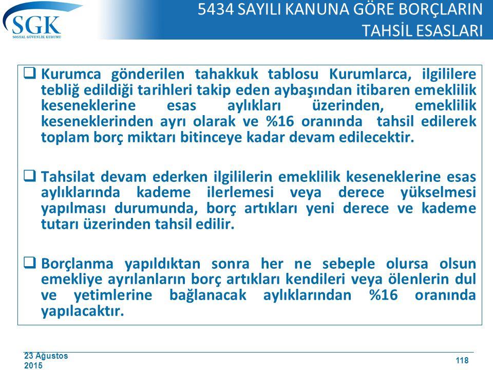 23 Ağustos 2015 5434 SAYILI KANUNA GÖRE BORÇLARIN TAHSİL ESASLARI  Kurumca gönderilen tahakkuk tablosu Kurumlarca, ilgililere tebliğ edildiği tarihle