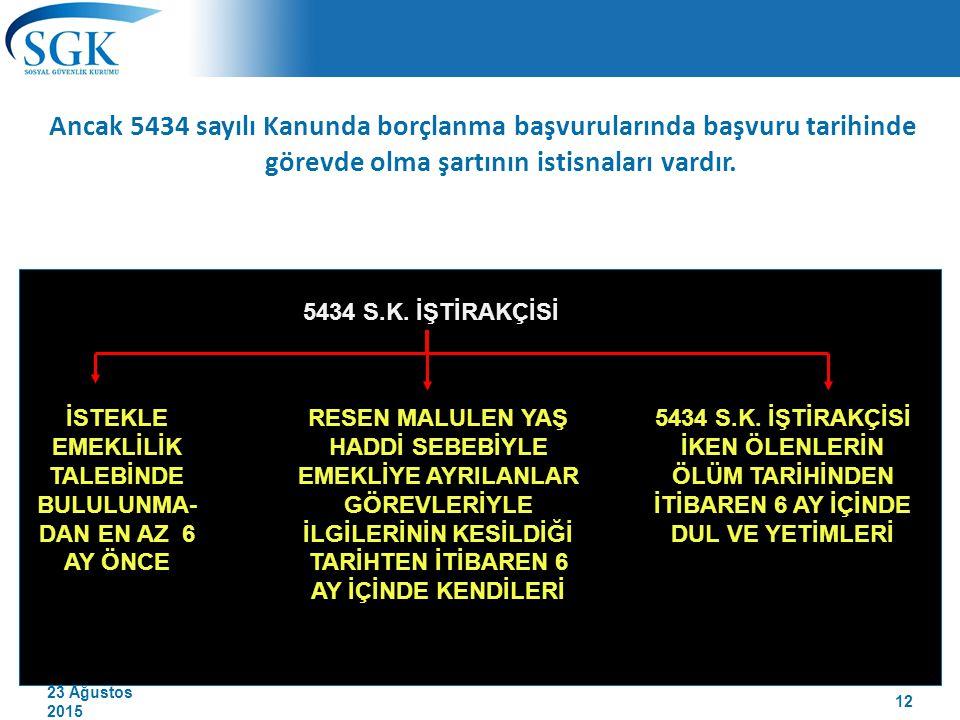 23 Ağustos 2015 Ancak 5434 sayılı Kanunda borçlanma başvurularında başvuru tarihinde görevde olma şartının istisnaları vardır. 5434 S.K. İŞTİRAKÇİSİ İ