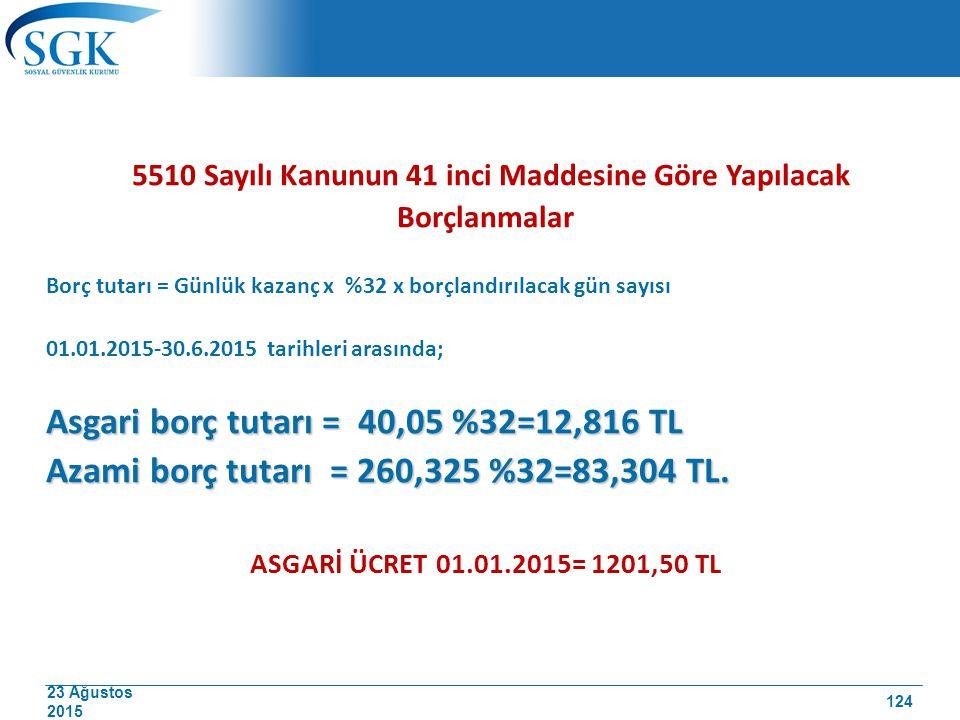 23 Ağustos 2015 5510 Sayılı Kanunun 41 inci Maddesine Göre Yapılacak Borçlanmalar Borç tutarı = Günlük kazanç x %32 x borçlandırılacak gün sayısı 01.0