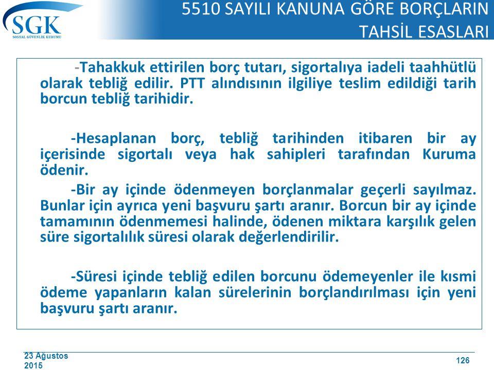 23 Ağustos 2015 5510 SAYILI KANUNA GÖRE BORÇLARIN TAHSİL ESASLARI -Tahakkuk ettirilen borç tutarı, sigortalıya iadeli taahhütlü olarak tebliğ edilir.