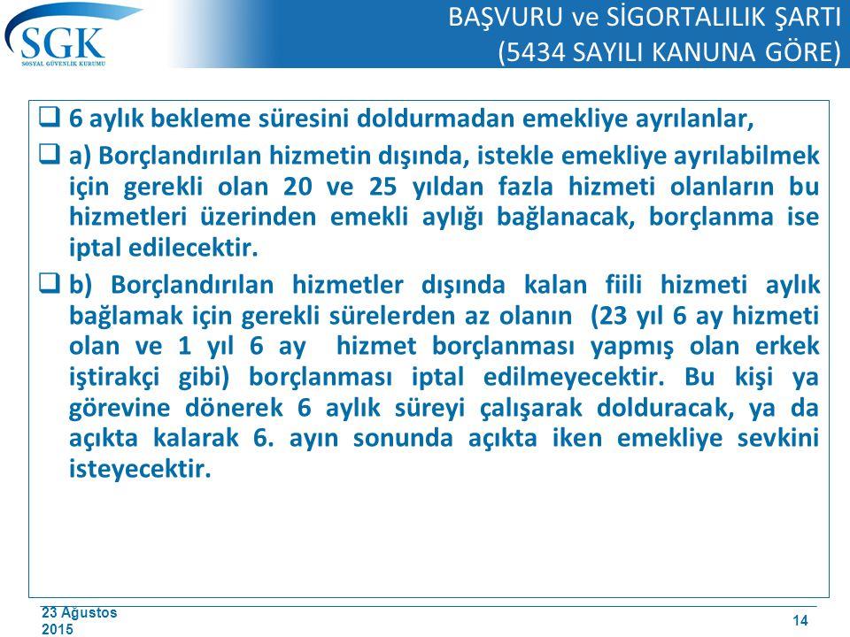 23 Ağustos 2015 BAŞVURU ve SİGORTALILIK ŞARTI (5434 SAYILI KANUNA GÖRE)  6 aylık bekleme süresini doldurmadan emekliye ayrılanlar,  a) Borçlandırıla