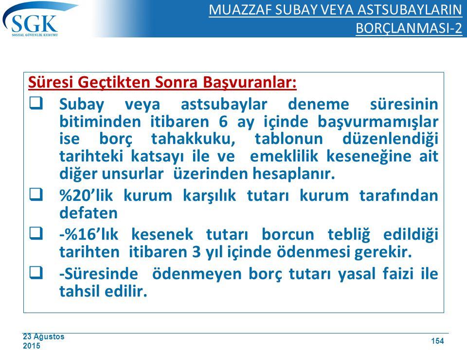 23 Ağustos 2015 MUAZZAF SUBAY VEYA ASTSUBAYLARIN BORÇLANMASI-2 Süresi Geçtikten Sonra Başvuranlar:  Subay veya astsubaylar deneme süresinin bitiminde