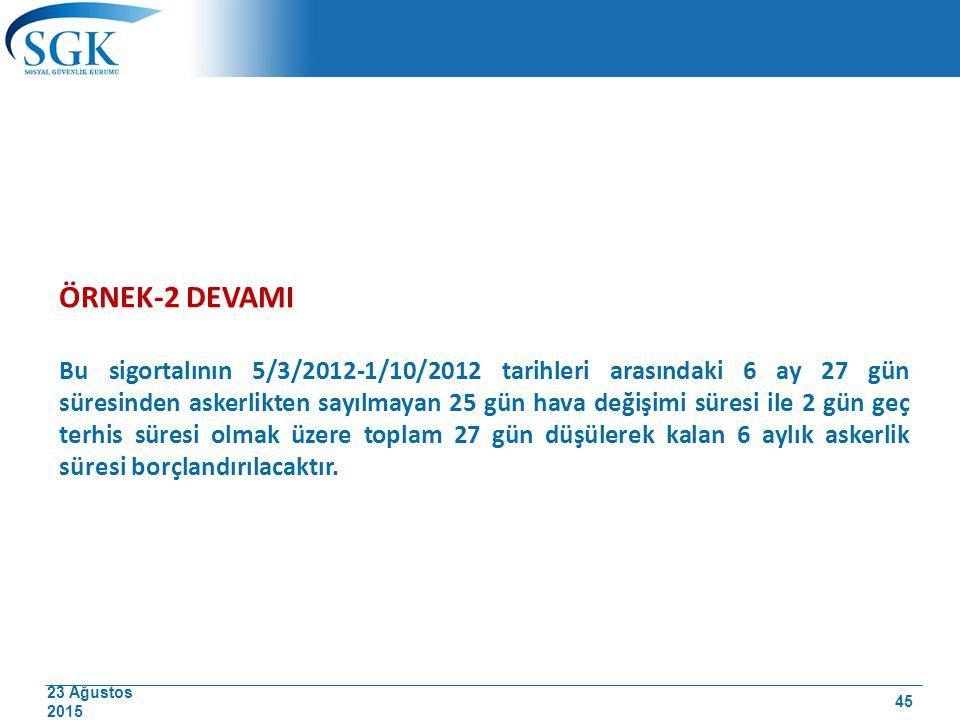 23 Ağustos 2015 ÖRNEK-2 DEVAMI Bu sigortalının 5/3/2012-1/10/2012 tarihleri arasındaki 6 ay 27 gün süresinden askerlikten sayılmayan 25 gün hava değiş