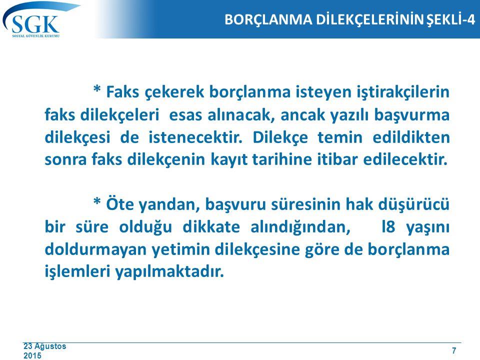 23 Ağustos 2015 Er veya Erbaş Olarak Silah Altında veya Yedek Subay Okulunda Geçen Süreler -Haklarında 5510 sayılı Kanun hükümleri uygulanan sigortalılardan; -Türk Vatandaşlığına alındıkları tarihte 22 yaşını doldurmuş olanlardan geldikleri ülkelerde yaptıkları askerlik sürelerini belgeleyenler belgede kayıtlı süreyi, -Belgede kayıtlı sürenin olmaması ve Türkiye deki emsallerinin yaptığı askerlik süresinden fazla olması hallerinde emsalleri kadar borçlandırılacaklardır.