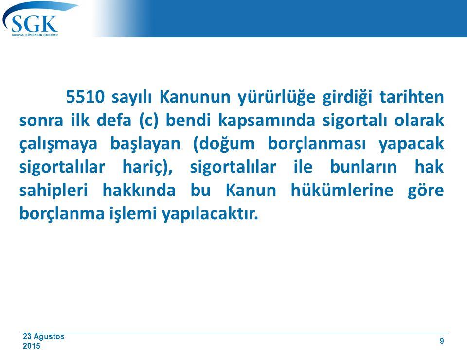 23 Ağustos 2015 5510 sayılı Kanunda borçlanma ile ilgili hükümler 41, 46 ncı maddeler ile geçici 4, 36,43,44,51 ve 56.