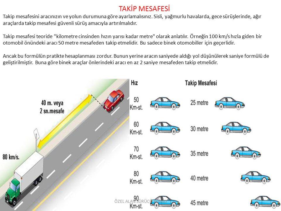 TAKİP MESAFESİ Takip mesafesini aracınızın ve yolun durumuna göre ayarlamalısınız. Sisli, yağmurlu havalarda, gece sürüşlerinde, ağır araçlarda takip