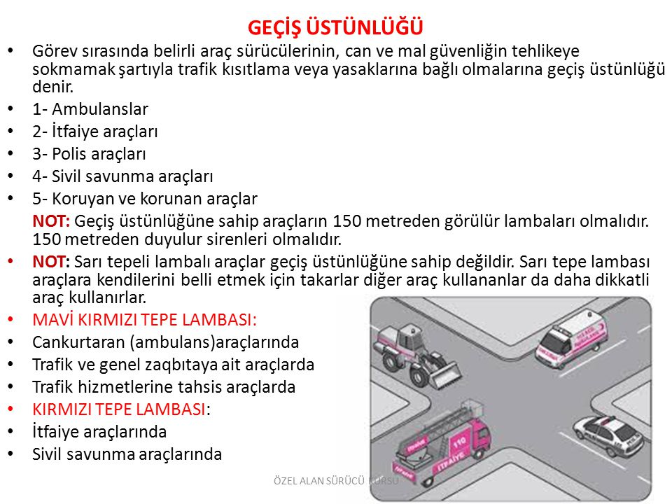 GEÇİŞ ÜSTÜNLÜĞÜ Görev sırasında belirli araç sürücülerinin, can ve mal güvenliğin tehlikeye sokmamak şartıyla trafik kısıtlama veya yasaklarına bağlı