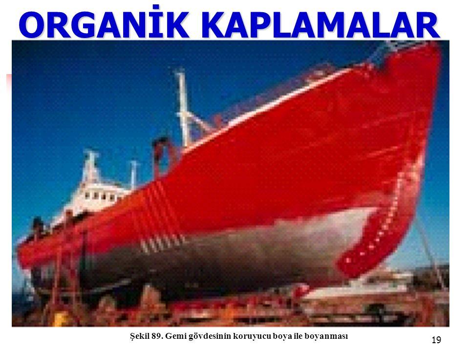 19 ORGANİK KAPLAMALAR Şekil 89. Gemi gövdesinin koruyucu boya ile boyanması