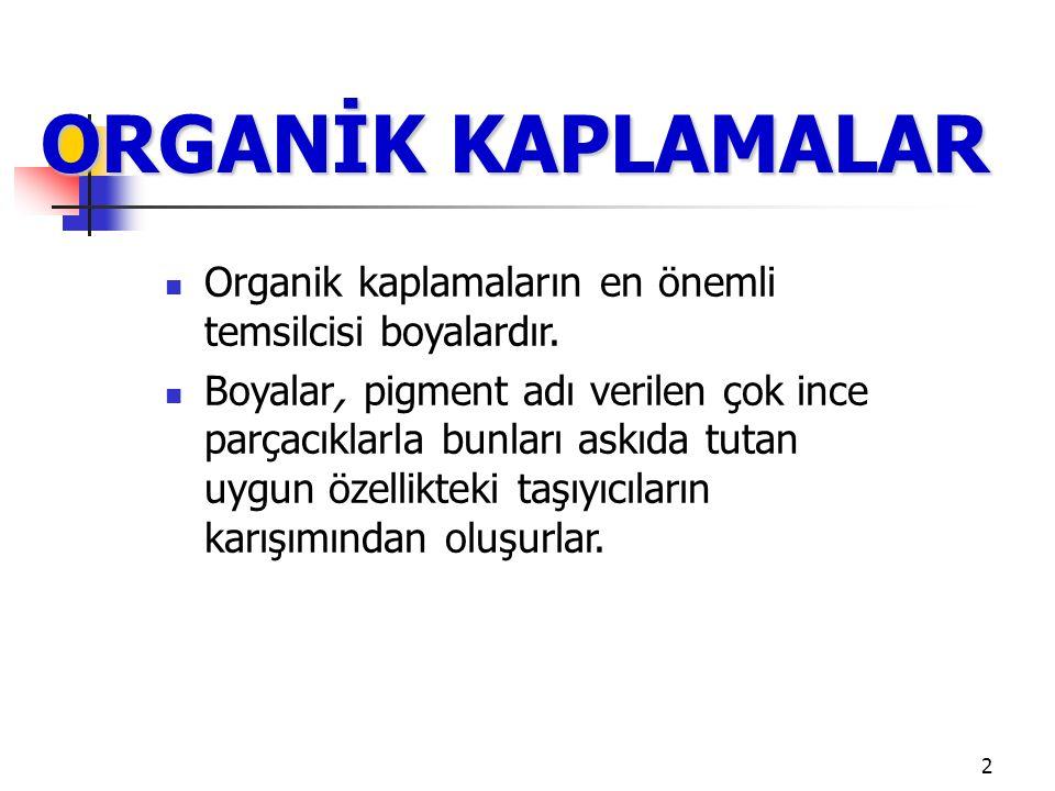 2 ORGANİK KAPLAMALAR Organik kaplamaların en önemli temsilcisi boyalardır.