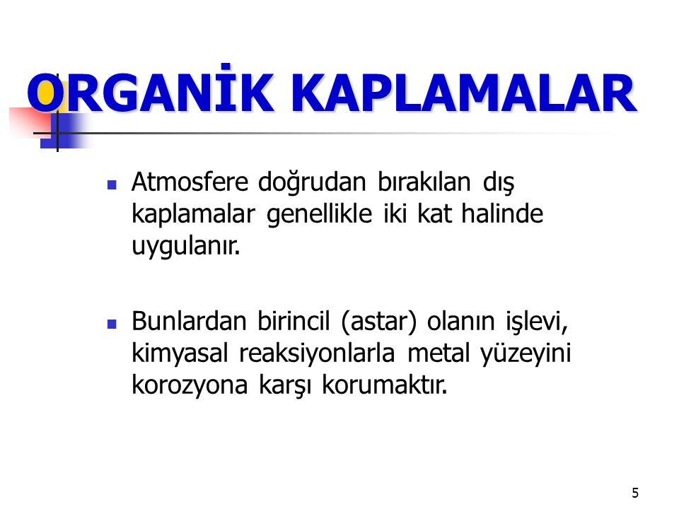 6 ORGANİK KAPLAMALAR İkincil (örtü) olanın işlevi ise su ve oksijenin geçisini engellemektir.