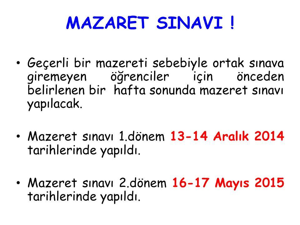 MAZARET SINAVI .