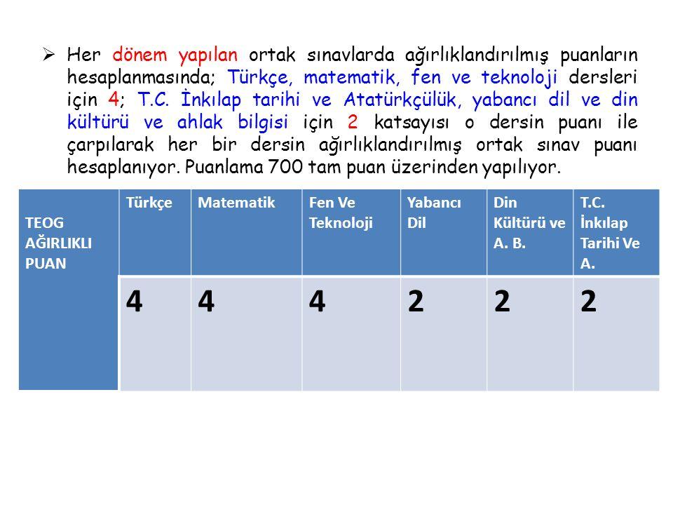  Her dönem yapılan ortak sınavlarda ağırlıklandırılmış puanların hesaplanmasında; Türkçe, matematik, fen ve teknoloji dersleri için 4; T.C.