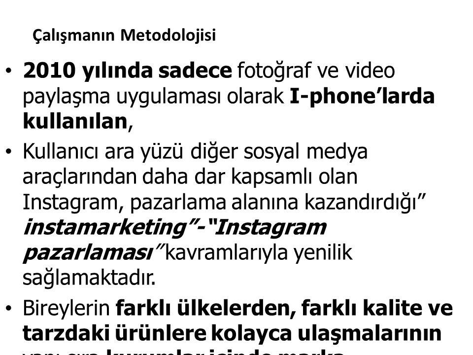 Çalışmanın Metodolojisi 2010 yılında sadece fotoğraf ve video paylaşma uygulaması olarak I-phone'larda kullanılan, Kullanıcı ara yüzü diğer sosyal med