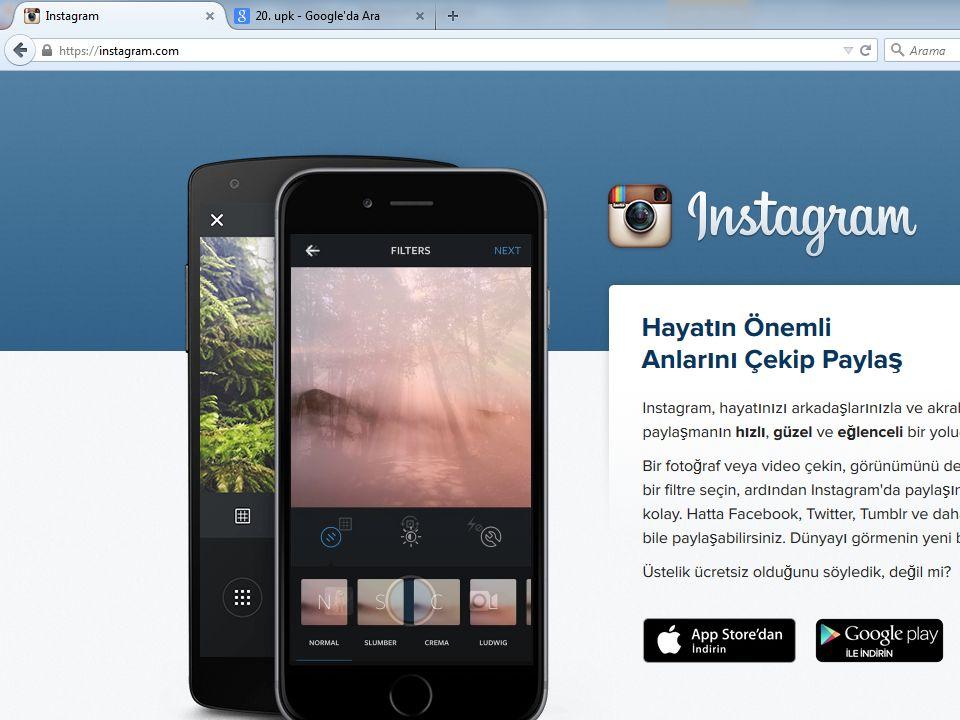 Instagram fonkisyonları Kullanıcı sayısı açısından dünyada en hızlı büyüyen sosyal ağ (300 milyon kullanıcı).