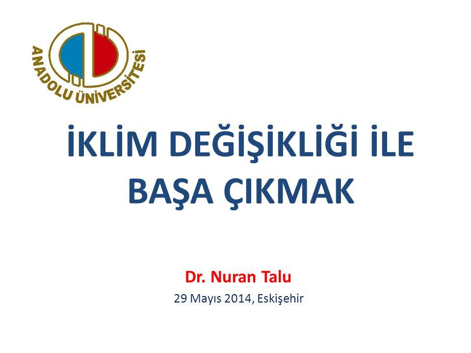 İKLİM DEĞİŞİKLİĞİ İLE BAŞA ÇIKMAK Dr. Nuran Talu 29 Mayıs 2014, Eskişehir
