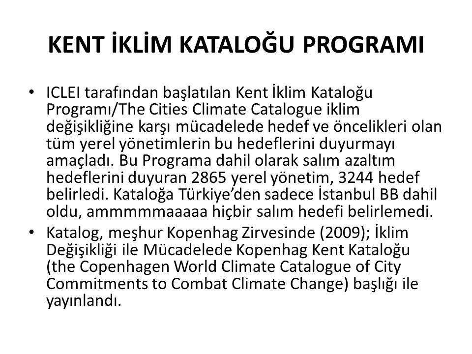 KENT İKLİM KATALOĞU PROGRAMI ICLEI tarafından başlatılan Kent İklim Kataloğu Programı/The Cities Climate Catalogue iklim değişikliğine karşı mücadeled