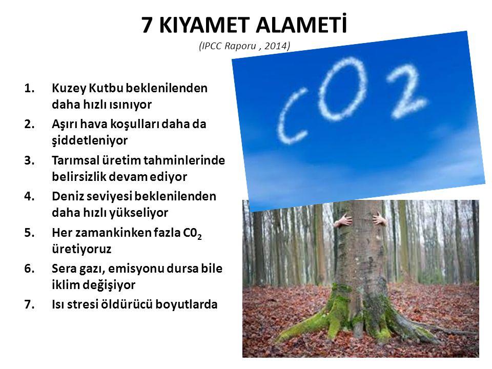 7 KIYAMET ALAMETİ (IPCC Raporu, 2014) 1.Kuzey Kutbu beklenilenden daha hızlı ısınıyor 2.Aşırı hava koşulları daha da şiddetleniyor 3.Tarımsal üretim t