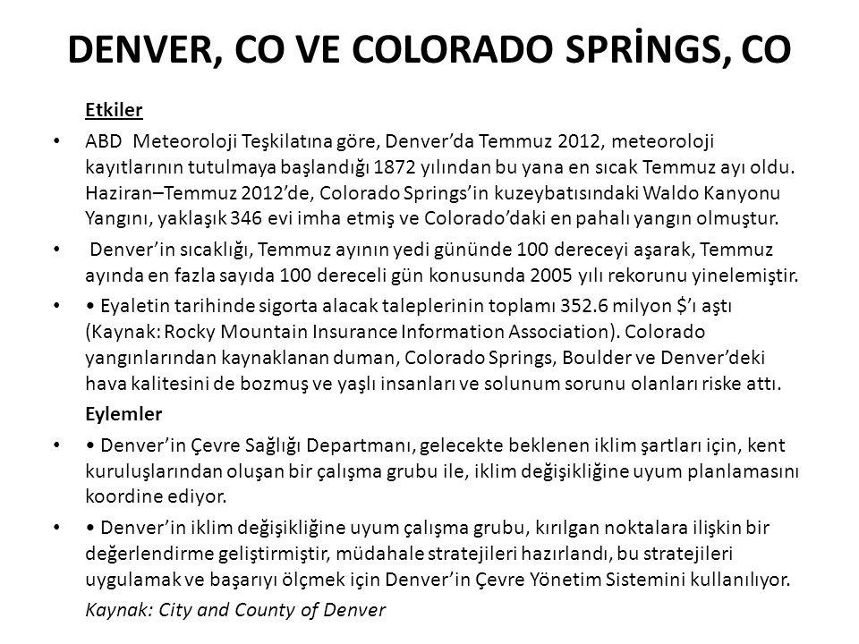 DENVER, CO VE COLORADO SPRİNGS, CO Etkiler ABD Meteoroloji Teşkilatına göre, Denver'da Temmuz 2012, meteoroloji kayıtlarının tutulmaya başlandığı 1872