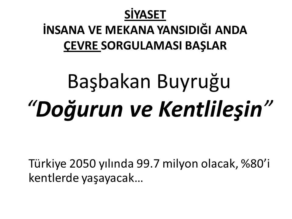SİYASET İNSANA VE MEKANA YANSIDIĞI ANDA ÇEVRE SORGULAMASI BAŞLAR Türkiye 2050 yılında 99.7 milyon olacak, %80'i kentlerde yaşayacak… Başbakan Buyruğu