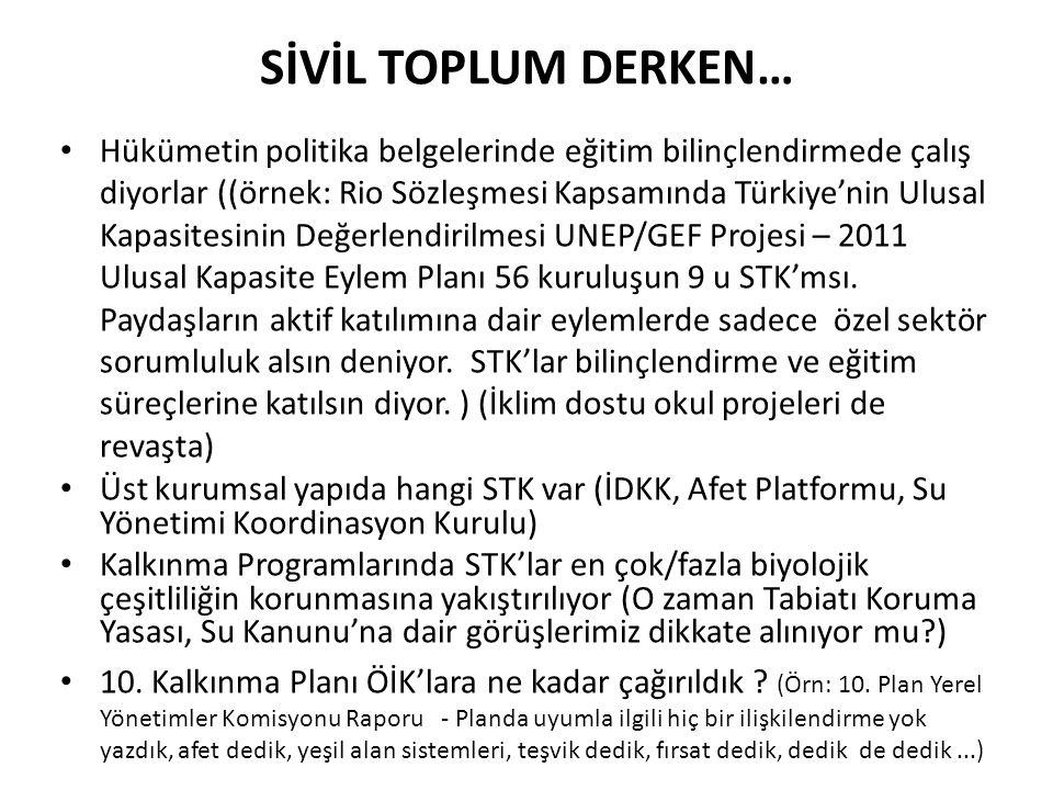 SİVİL TOPLUM DERKEN… Hükümetin politika belgelerinde eğitim bilinçlendirmede çalış diyorlar ((örnek: Rio Sözleşmesi Kapsamında Türkiye'nin Ulusal Kapa