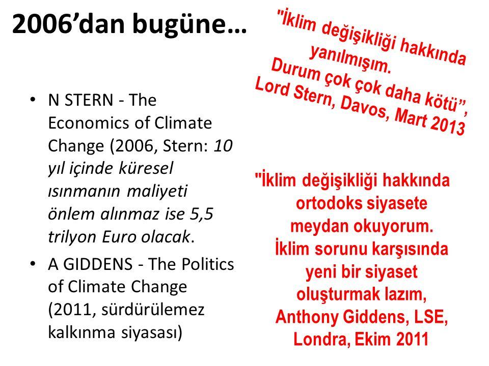 2006'dan bugüne… N STERN - The Economics of Climate Change (2006, Stern: 10 yıl içinde küresel ısınmanın maliyeti önlem alınmaz ise 5,5 trilyon Euro o