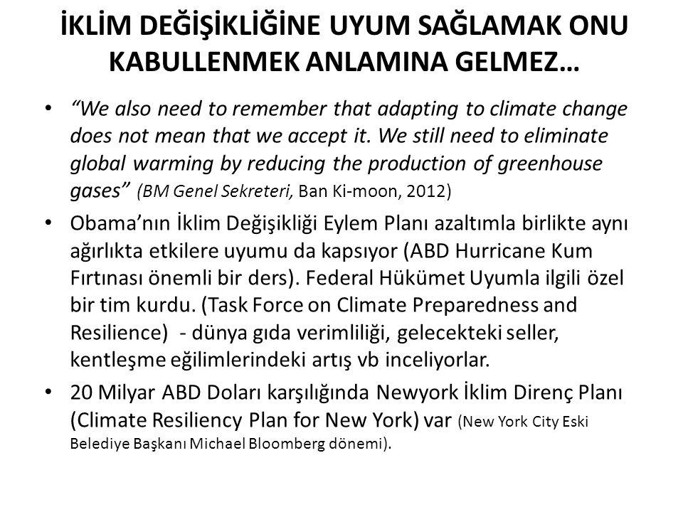 "İKLİM DEĞİŞİKLİĞİNE UYUM SAĞLAMAK ONU KABULLENMEK ANLAMINA GELMEZ… ""We also need to remember that adapting to climate change does not mean that we acc"
